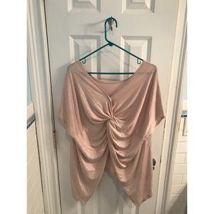 Shiny Pink Tie-Back Blouse
